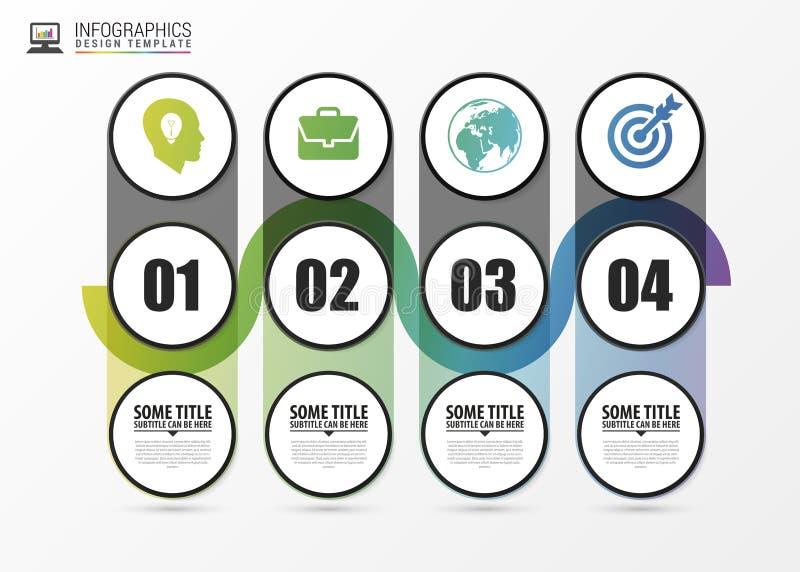 Υπόδειξη ως προς το χρόνο infographic με 4 βήματα σύγχρονο πρότυπο σχεδίο&upsil διάνυσμα διανυσματική απεικόνιση
