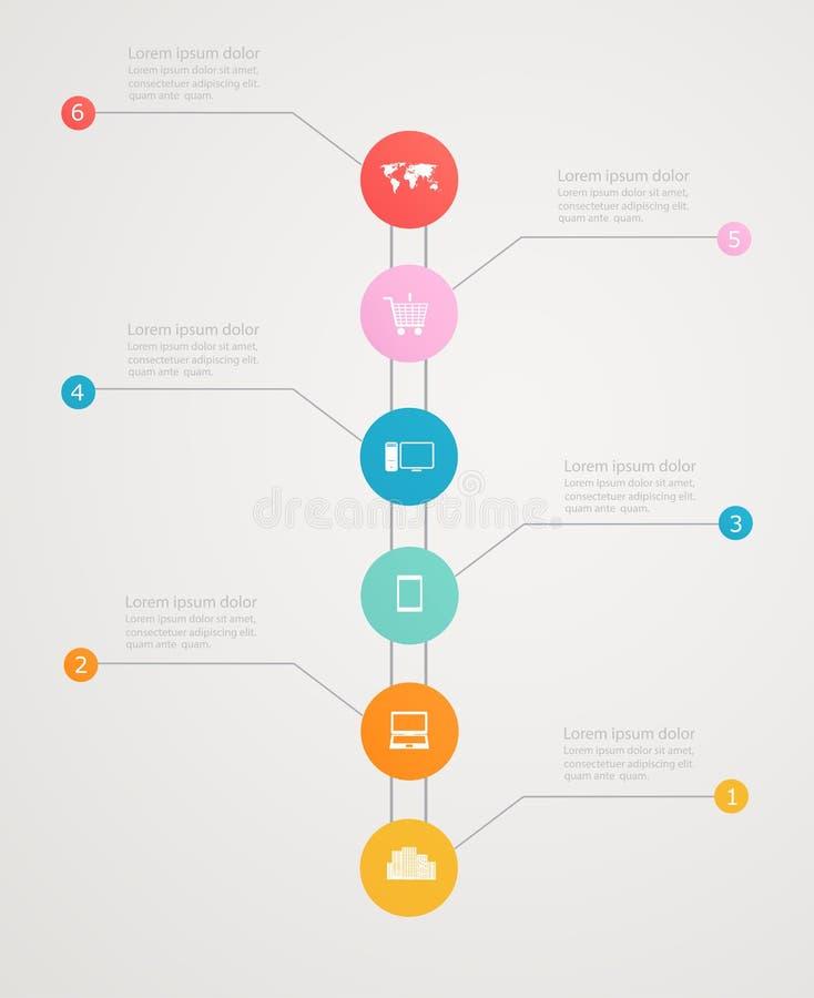 Υπόδειξη ως προς το χρόνο Infographic με τα επιχειρησιακά εικονίδια, ηλεκτρονικό εμπόριο απεικόνιση αποθεμάτων