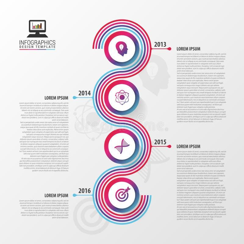 Υπόδειξη ως προς το χρόνο Infographic Σύγχρονο σπειροειδές επιχειρησιακό πρότυπο επίσης corel σύρετε το διάνυσμα απεικόνισης ελεύθερη απεικόνιση δικαιώματος