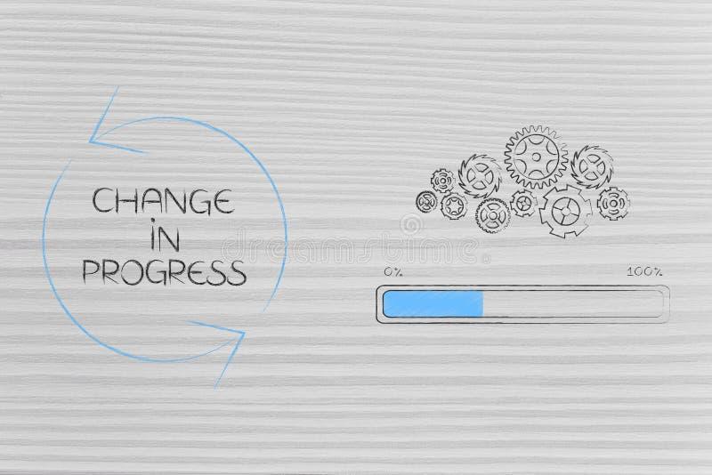 Υπό εξέλιξη gearwheel αλλαγής μηχανισμός με το φραγμό προόδου δίπλα στοκ εικόνα με δικαίωμα ελεύθερης χρήσης