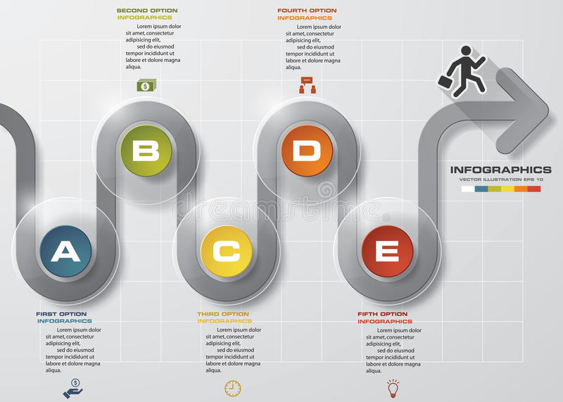 υπό εξέλιξη πρότυπο σχεδίου Infographic προτύπων βελών 5 βημάτων με 5 επιλογές διανυσματική απεικόνιση