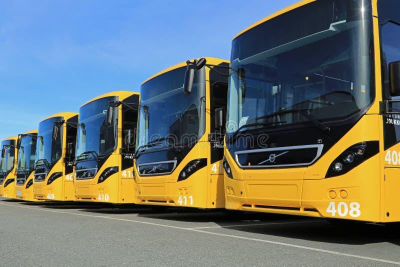 Υπόλοιπος κόσμος της κίτρινης VOLVO 8900 Intercity λεωφορεία στοκ εικόνες με δικαίωμα ελεύθερης χρήσης