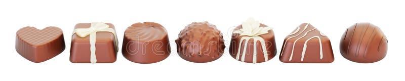 Υπόλοιπος κόσμος των καραμελών σοκολάτας, τρισδιάστατη απόδοση ελεύθερη απεικόνιση δικαιώματος