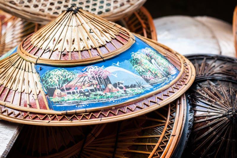 Υφαμένα ταϊλανδικά καπέλα στοκ εικόνα