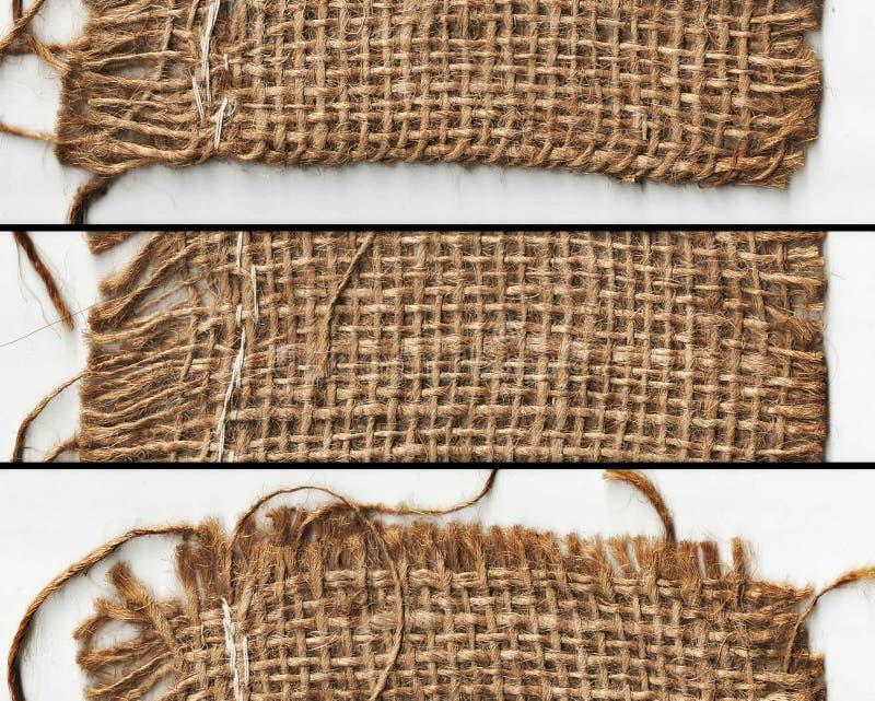 Υφαμένη σύσταση υφασμάτων στο έμβλημα στοκ εικόνα με δικαίωμα ελεύθερης χρήσης
