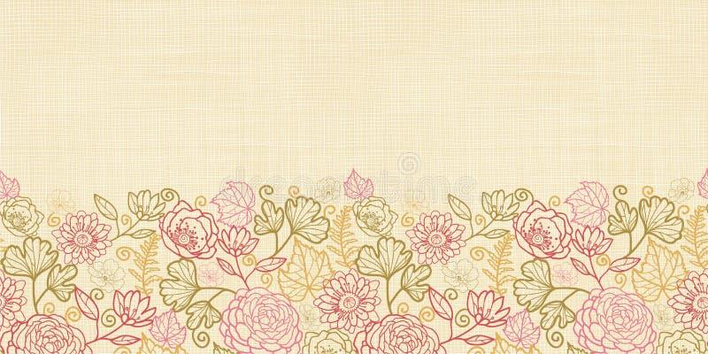 Υφαντικά σύνορα υποβάθρου σχεδίων λουλουδιών οριζόντια άνευ ραφής απεικόνιση αποθεμάτων