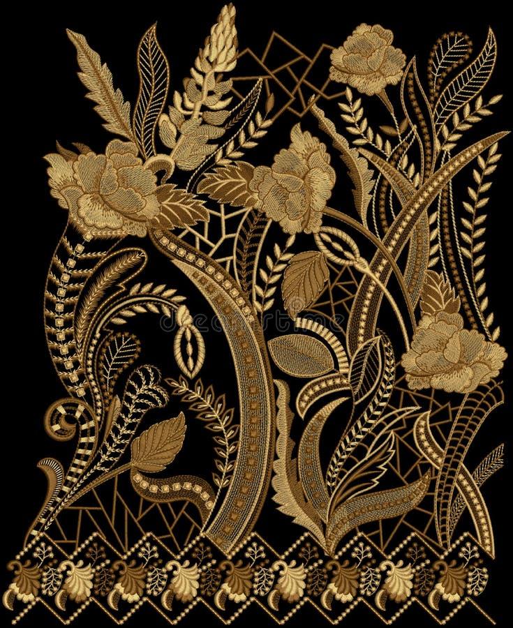 Υφαντικό έργο τέχνης απεικόνισης τυπωμένων υλών σχεδίου κεντητικής διανυσματική απεικόνιση