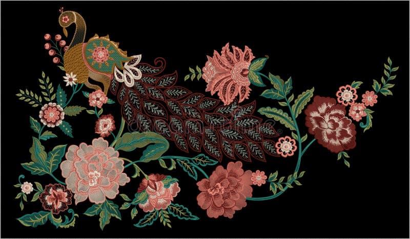 Υφαντικό σχέδιο τυπωμένων υλών Motitf κεντητικής για την τέχνη Mughal Illustrat, απεικόνιση απεικόνιση αποθεμάτων