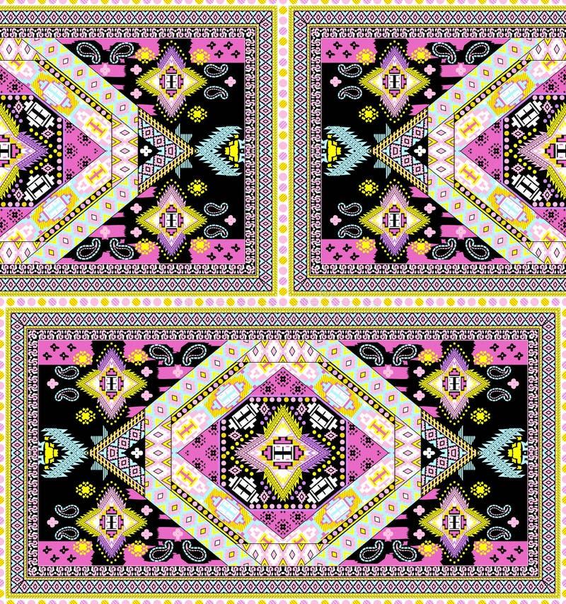 Υφαντικό σχέδιο μαντίλι τυπωμένων υλών ζωηρόχρωμο διανυσματική απεικόνιση