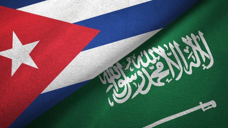 Υφαντικό ύφασμα σημαιών της Κούβας και της Σαουδικής Αραβίας διανυσματική απεικόνιση