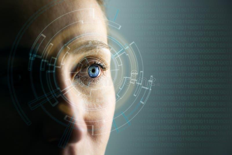 Υψηλές τεχνολογίες στο μέλλον Μάτι της νέας γυναίκας και έννοια υψηλής τεχνολογίας, αυξημένη επίδειξη πραγματικότητας, φορετός υπ στοκ εικόνα