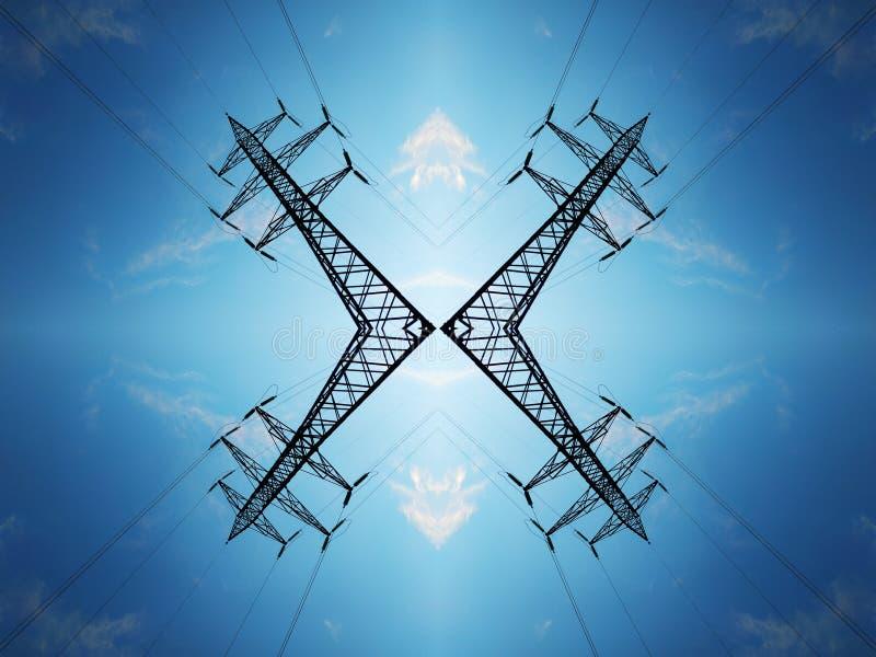 Υψηλής τάσεως ηλεκτροφόρα καλώδια ενάντια στο μπλε ουρανό με τα σύννεφα στοκ εικόνες