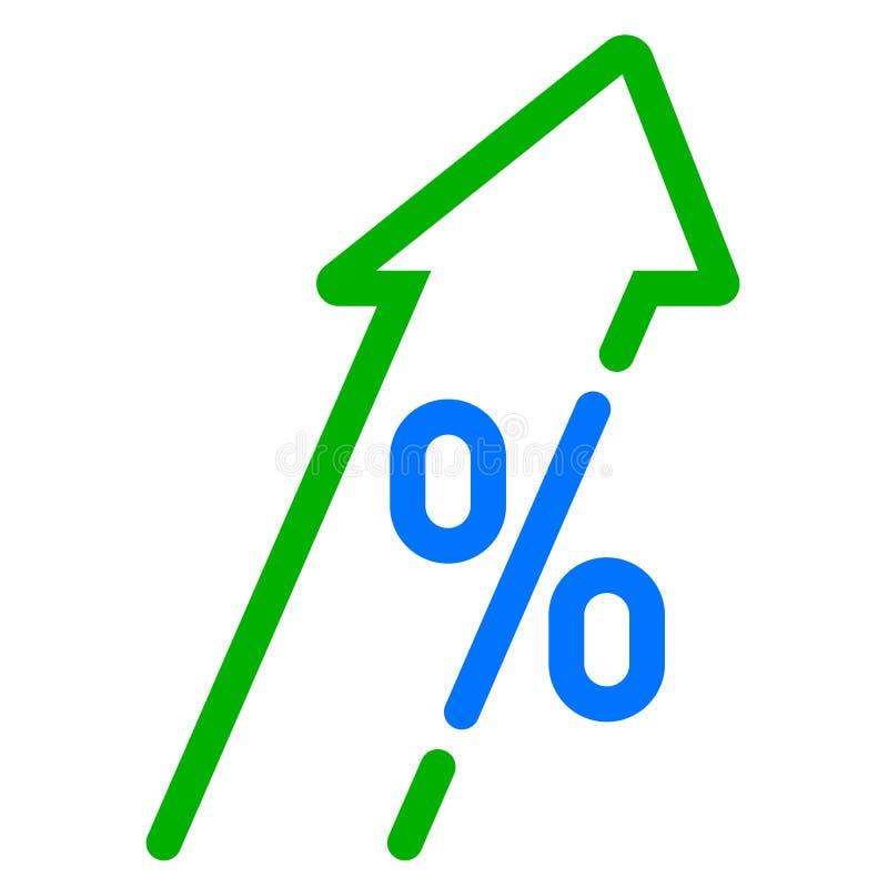 Υψηλή ανάπτυξη ΑΕΠ, πράσινα βέλος και εικονίδιο τοις εκατό Διανυσματικό ΑΕΠ, βέλος αύξησης κέρδους επένδυσης επάνω διανυσματική απεικόνιση