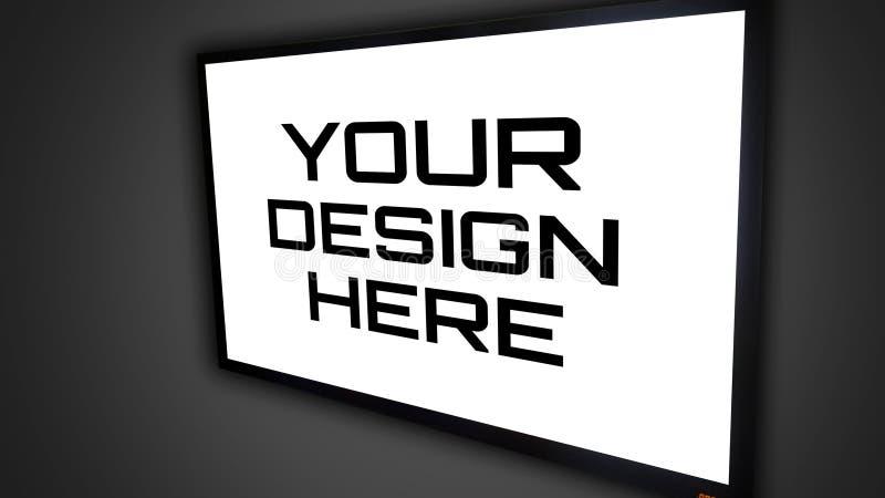 Υψηλός - ένωση TV προτύπων ` ποιοτικής TV σε έναν τοίχο ` ελεύθερη απεικόνιση δικαιώματος