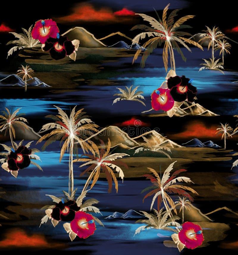 Υψηλός ζωηρόχρωμος πόνος watercolor σχεδίων χεριών αντίθεσης θερινής νύχτας ελεύθερη απεικόνιση δικαιώματος