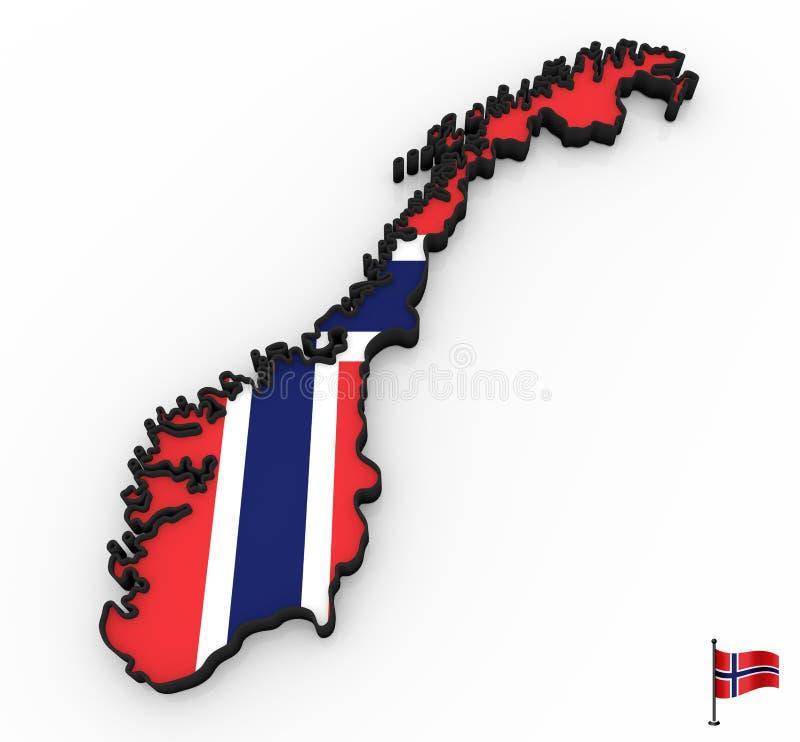 Υψηλός λεπτομερής τρισδιάστατος χάρτης της Νορβηγίας ελεύθερη απεικόνιση δικαιώματος
