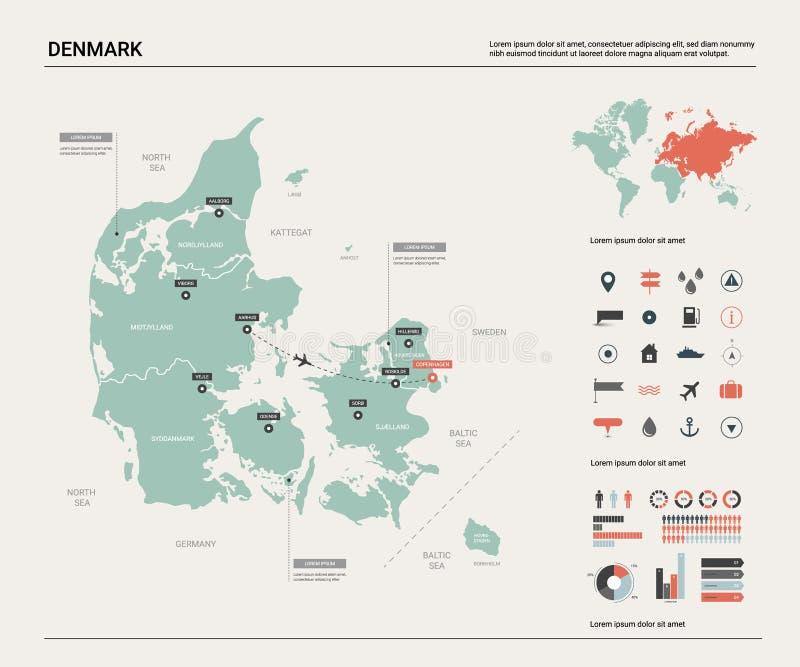 Διανυσματικός χάρτης της Δανίας Υψηλός λεπτομερής χάρτης χωρών με το τμήμα, τις πόλεις και την κύρια Κοπεγχάγη Πολιτικός χάρτης,  ελεύθερη απεικόνιση δικαιώματος