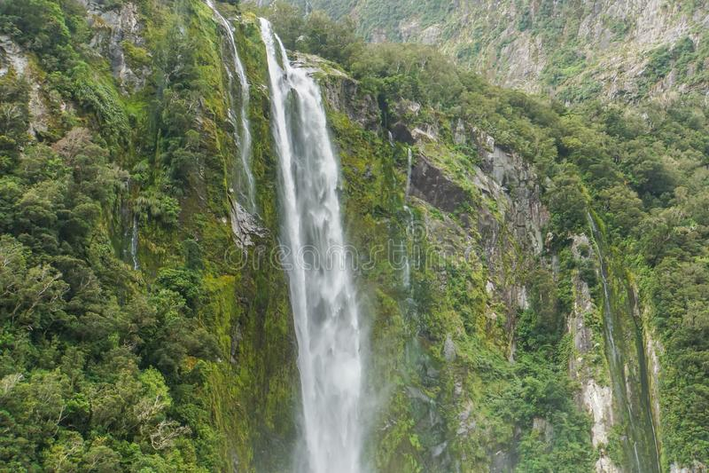 Υψηλός μεγάλος πράσινος καταρράκτης σε Milford υγιής Νέα Ζηλανδία στοκ εικόνα