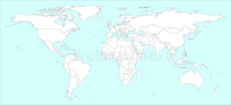 Υψηλός παγκόσμιος χάρτης λεπτομέρειας με το μέρος χωρών διανυσματική απεικόνιση