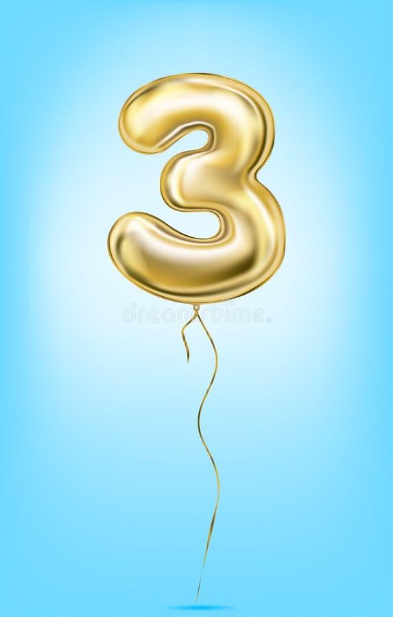 Υψηλός - ποιοτική διανυσματική εικόνα των χρυσών αριθμών μπαλονιών Ψηφίο 3, τρία διανυσματική απεικόνιση