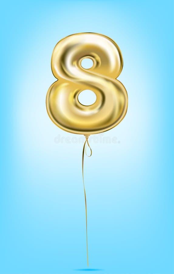 Υψηλός - ποιοτική διανυσματική εικόνα των χρυσών αριθμών μπαλονιών Ψηφίο 8, οκτώ απεικόνιση αποθεμάτων
