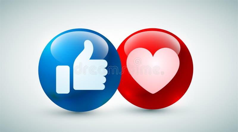 Υψηλός - φυσαλίδα ποιοτικών η τρισδιάστατη διανυσματική στρογγυλή μπλε κόκκινη κινούμενων σχεδίων emoticons για τα κοινωνικά μέσα απεικόνιση αποθεμάτων