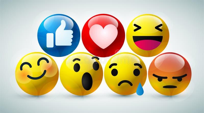 Υψηλός - φυσαλίδα ποιοτικών η τρισδιάστατη διανυσματική στρογγυλή κίτρινη κινούμενων σχεδίων emoticons για τα κοινωνικά μέσα κουβ διανυσματική απεικόνιση