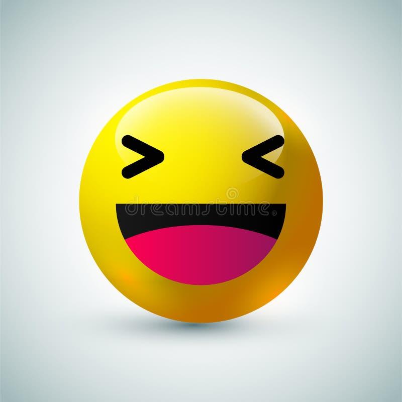Υψηλός - φυσαλίδα ποιοτικών η τρισδιάστατη διανυσματική στρογγυλή κίτρινη κινούμενων σχεδίων emoticons για τα κοινωνικά μέσα κουβ ελεύθερη απεικόνιση δικαιώματος