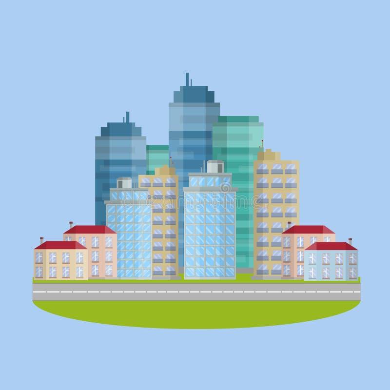 υψηλότερος ουρανοξύστη Το επιχειρησιακό κέντρο της πόλης διανυσματική απεικόνιση