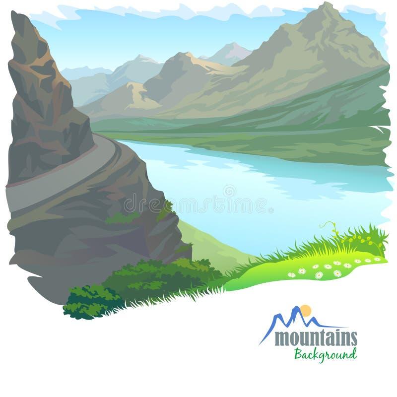 Υψηλό βουνό και ποταμός διανυσματική απεικόνιση