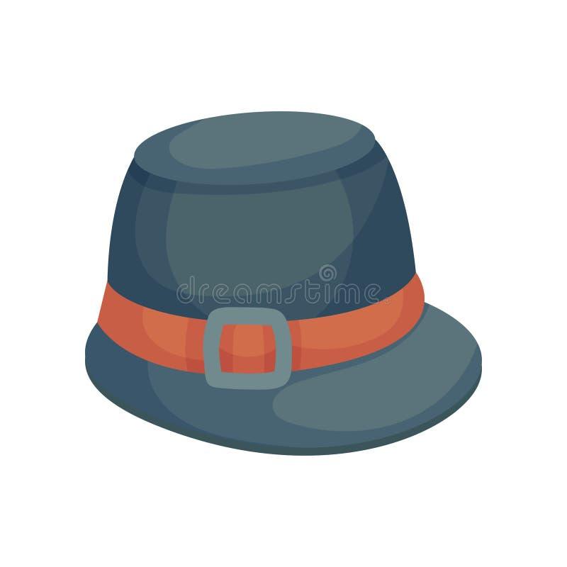 Υψηλό γκρίζο καπέλο με ένα μικρό γείσο E διανυσματική απεικόνιση