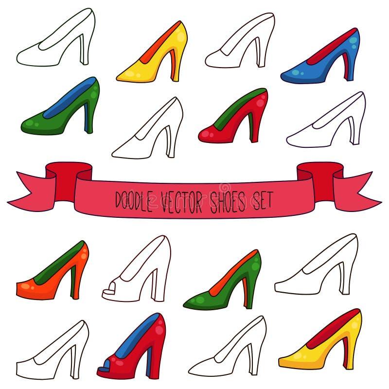 Υψηλό ζωηρόχρωμο διανυσματικό σύνολο παπουτσιών γυναικών τακουνιών doodle ελεύθερη απεικόνιση δικαιώματος