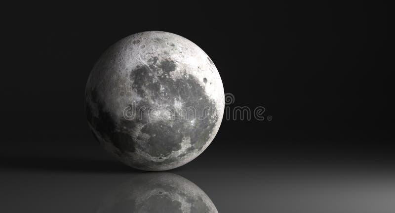 Υψηλό λεπτομερές φεγγάρι στο σκοτεινό στούντιο με την αντανακλαστική επιφάνεια διανυσματική απεικόνιση