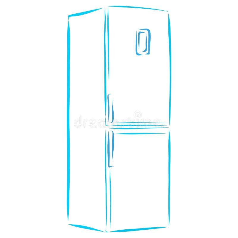 Υψηλό ψυγείο, οικιακές συσκευές, κουζίνα διανυσματική απεικόνιση