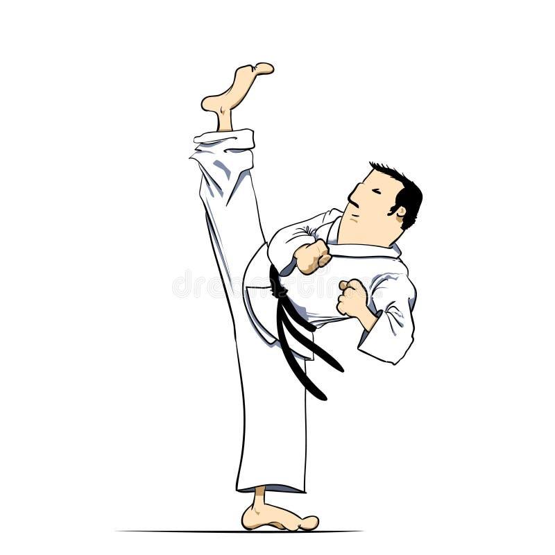 υψηλό karate τεχνών λάκτισμα πο&lambd διανυσματική απεικόνιση