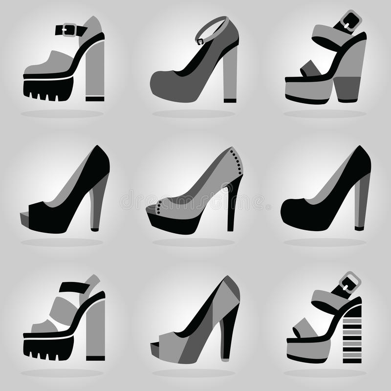 Υψηλά εικονίδια παπουτσιών τακουνιών πλατφορμών γυναικών που τίθενται στο γκρίζο υπόβαθρο κλίσης ελεύθερη απεικόνιση δικαιώματος