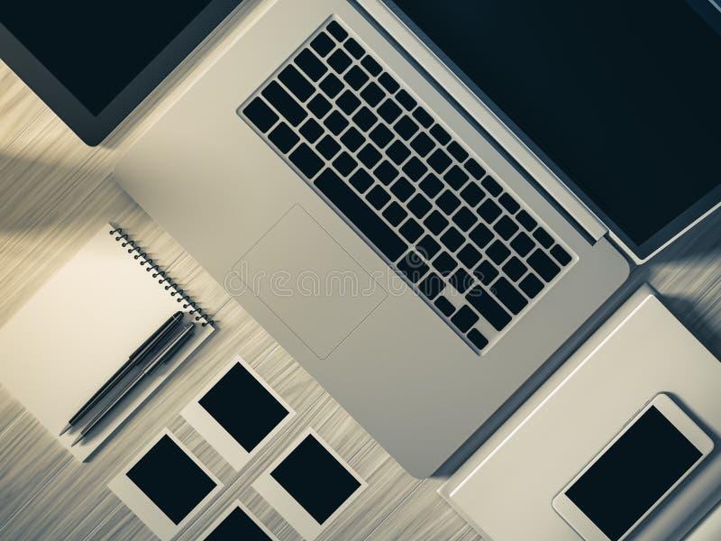 Υψηλή άποψη γωνίας ενός πίνακα ρύθμισης του επιχειρησιακού εργασιακού χώρου στοκ φωτογραφίες με δικαίωμα ελεύθερης χρήσης