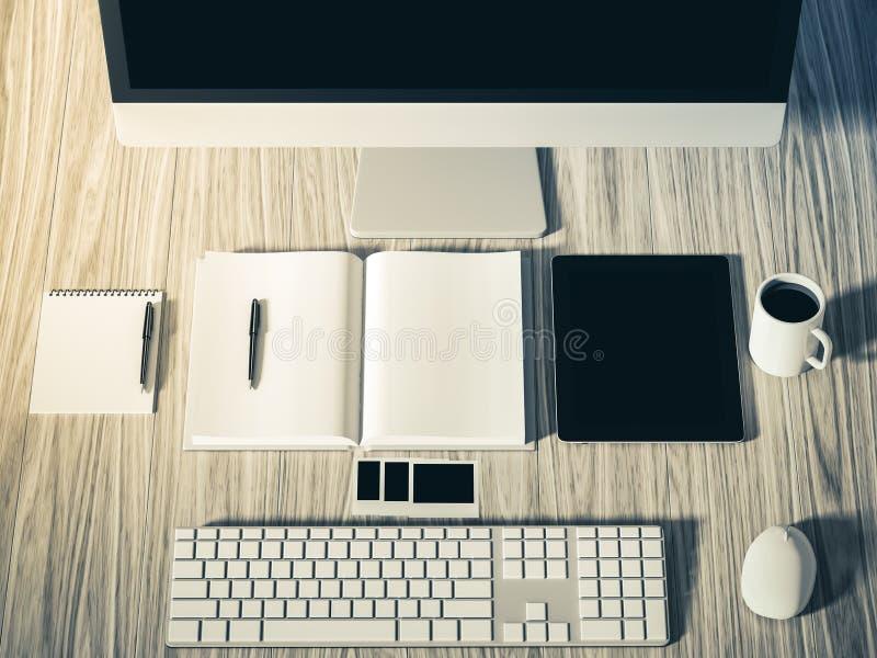 Υψηλή άποψη γωνίας ενός πίνακα ρύθμισης του επιχειρησιακού εργασιακού χώρου απεικόνιση αποθεμάτων
