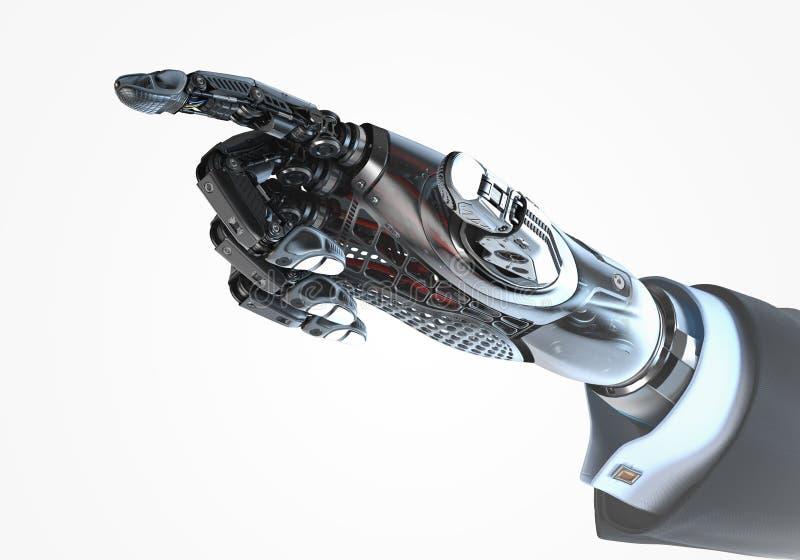 Υψηλός λεπτομερής ρομποτικός παραδίδει το επιχειρησιακό κοστούμι δείχνοντας με το αντίχειρα ελεύθερη απεικόνιση δικαιώματος