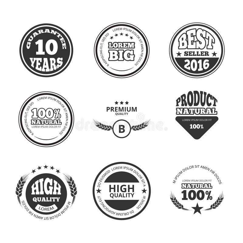 Υψηλός - ποιότητα, ασφάλιστρο, λογότυπα σφραγίδων κεριών εγγύησης εκλεκτής ποιότητας διανυσματικές ετικέτες, διακριτικά και ελεύθερη απεικόνιση δικαιώματος