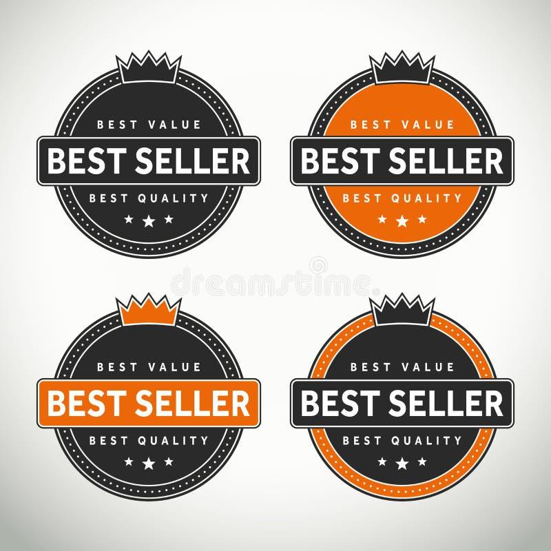 Υψηλός - σφραγίδες και διακριτικά ποιοτικών καλύτερων πωλητών διανυσματική απεικόνιση