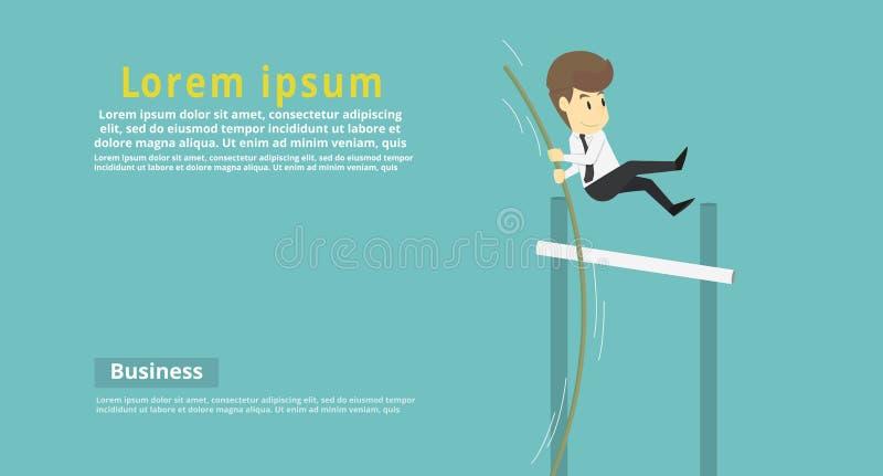 Υψηλό άλμα επιχειρηματιών πέρα από το εμπόδιο Κινούμενα σχέδια της επιχειρησιακής επιτυχίας ι διανυσματική απεικόνιση