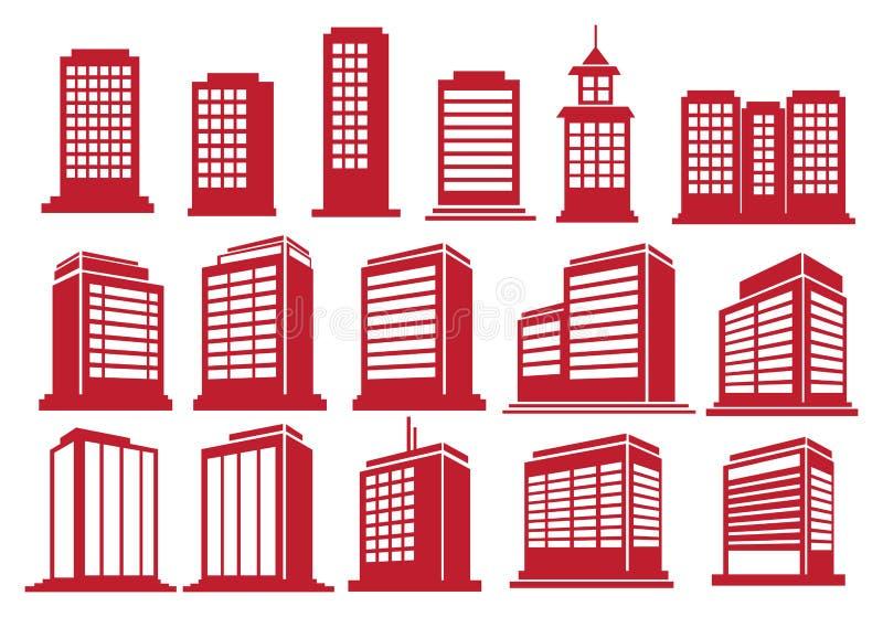 Υψηλό ανόδου σύνολο εικονιδίων κτηρίων διανυσματικό απεικόνιση αποθεμάτων