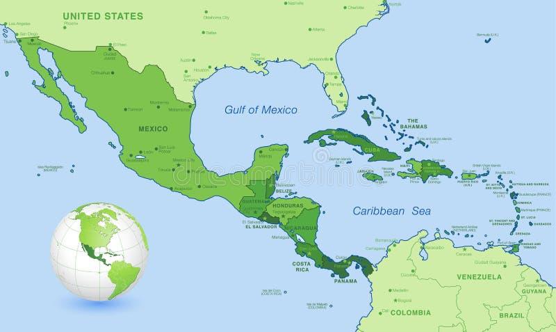 Υψηλό λεπτομέρειας σύνολο χαρτών της Κεντρικής Αμερικής πράσινο διανυσματικό διανυσματική απεικόνιση
