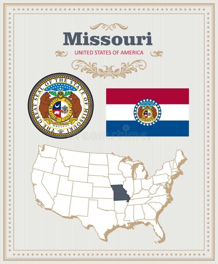 Υψηλό λεπτομερές διάνυσμα που τίθεται με τη σημαία, κάλυψη των όπλων Μισσούρι Αμερικανική αφίσα χαιρετισμός καλή χρονιά καρτών το ελεύθερη απεικόνιση δικαιώματος