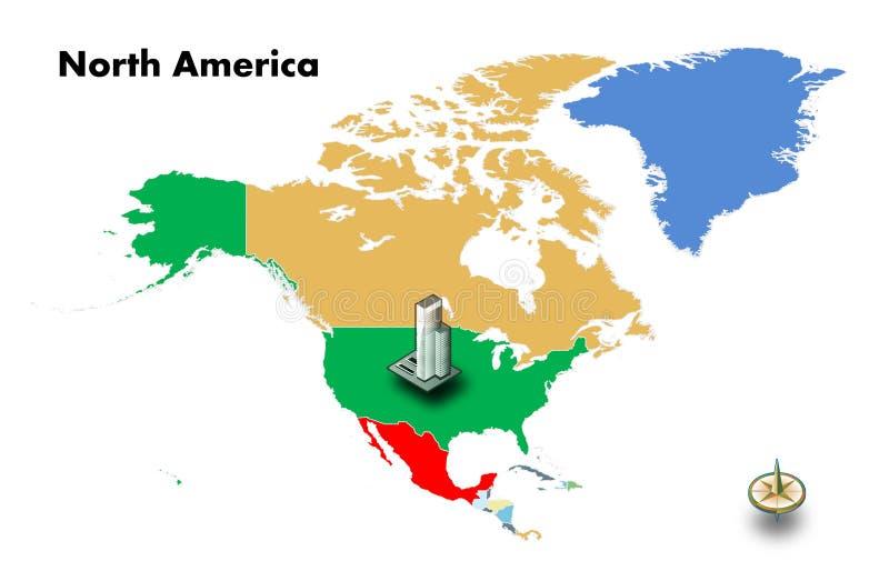 υψηλό κτήριο στις ΗΠΑ στο χάρτη της Βόρειας Αμερικής στοκ φωτογραφία