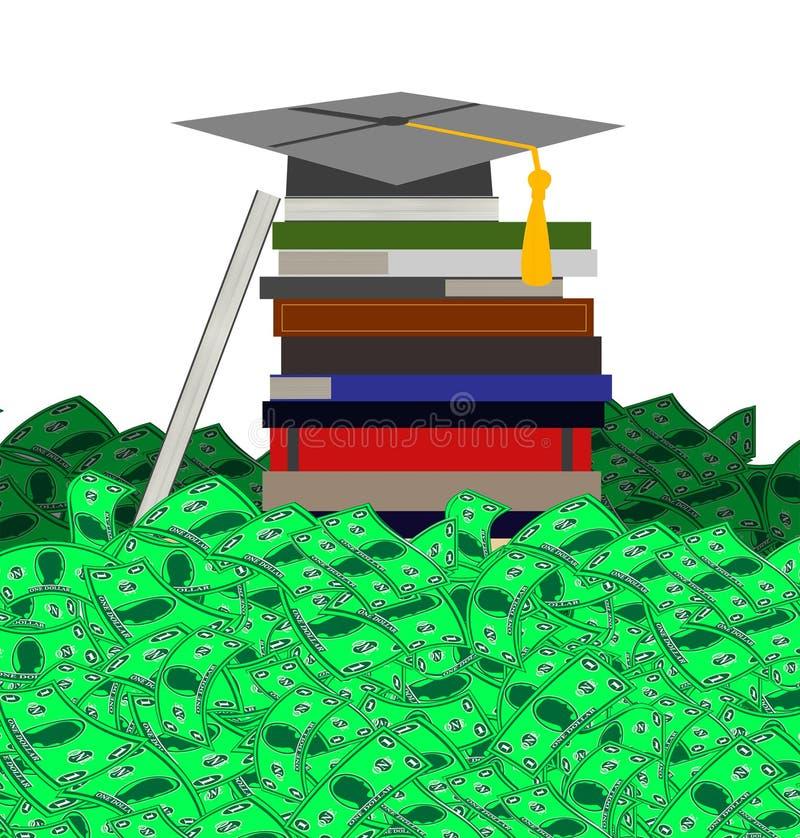 Υψηλό κόστος της εκπαίδευσης κολλεγίου (στο άσπρο υπόβαθρο) διανυσματική απεικόνιση