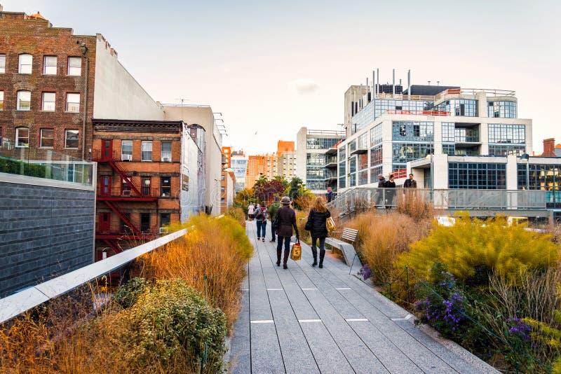 Υψηλό πάρκο γραμμών στην πόλη της Νέας Υόρκης, ΗΠΑ στοκ εικόνες