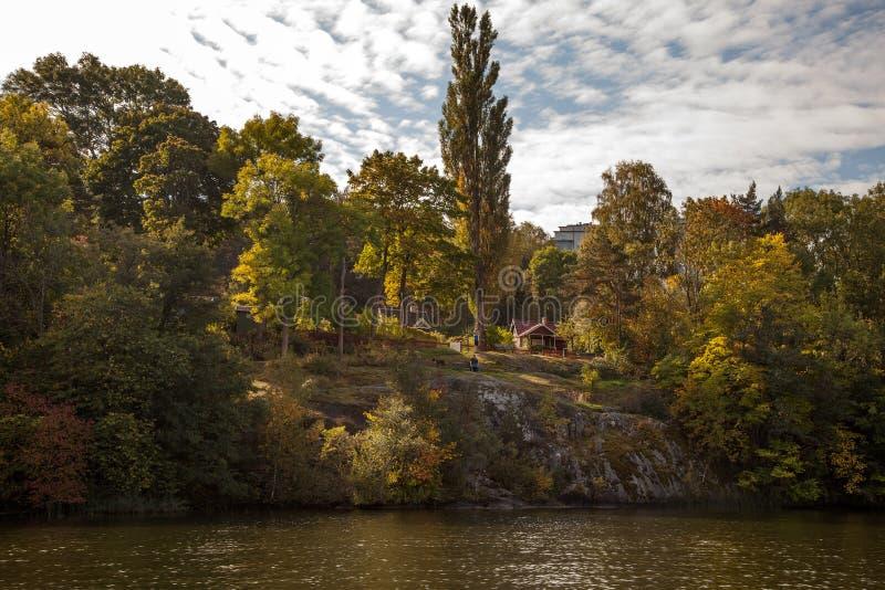 Υδάτινες οδοί και απόψεις πάρκων στη Στοκχόλμη, Σουηδία στοκ εικόνες