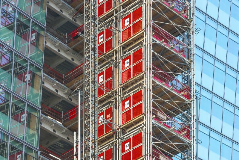 Υλικά σκαλωσιάς ουρανοξυστών, Λονδίνο, UK στοκ φωτογραφία με δικαίωμα ελεύθερης χρήσης